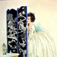 Arte: RETRATO DE DAMA. ACUARELA SOBRE PAPEL. FIRMADO OPI-VILEY (OPISSO?). ESPAÑA. CIRCA 1920. Lote 98207131