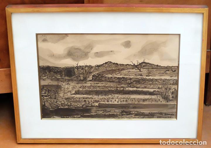 RAFAEL DURAN BENET (TERRASSA, 1931 - BARCELONA, 2015) TECNICA MIXTA SOBRE PAPEL. CADAQUES (Arte - Acuarelas - Contemporáneas siglo XX)