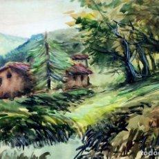 Arte: BOSQUE CON CASA DE CAMPO. ACUARELA SOBRE PAPEL. FIRMADO. ESPAÑA. CIRCA 1950. Lote 99368915
