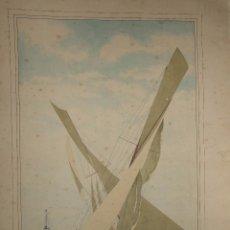 Arte: ACUARELA GRAN TAMAÑO - FIRMA SIN IDENTIFICAR - ENCUENTRO CRUCE Y CONFERENCIA - 1949 74X49CM. Lote 99371491