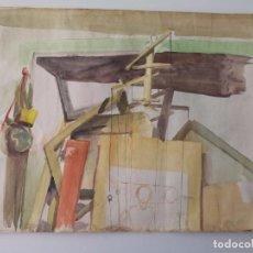 Arte: INTERESANTE ACUARELA CON BOCETOS A TINTA EN EL REVERSO . Lote 99452683
