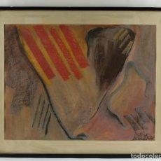 Arte: CERAS, GOUACHE Y PASTEL SOBRE PAPEL COMPOSICIÓN SENYERA FIRMA ILEGIBLE FECHADO 1976. Lote 99808115