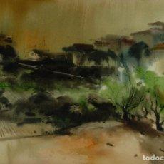 Arte: ACUARELA SOBRE PAPEL PAISAJE FIRMADO ROZAS SIGLO XX. Lote 100071939