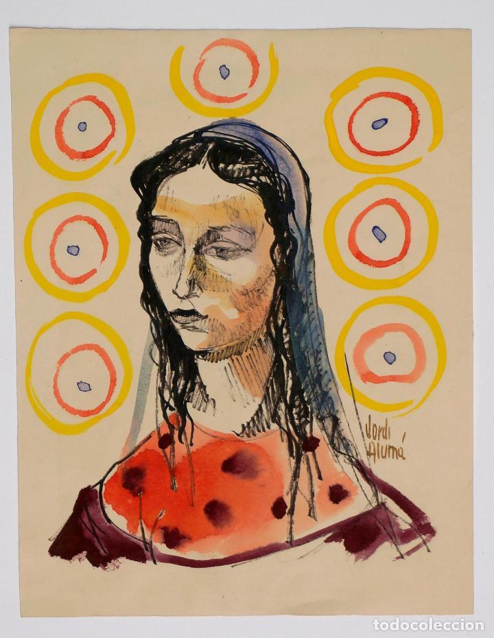 JORDI ALUMÀ, RETRATO MUJER, ACUARELA. 20X26CM (Arte - Acuarelas - Contemporáneas siglo XX)