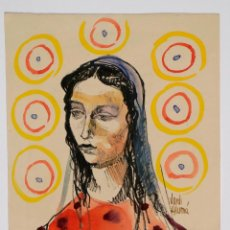 Arte: JORDI ALUMÀ, RETRATO MUJER, ACUARELA. 20X26CM. Lote 100121859