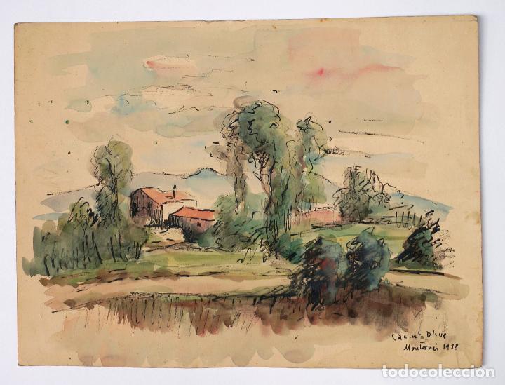 JACINTO OLIVÉ, PAISAJE MONTORNÉS, ACUARELA, 1938. 34X25,5CM (Arte - Acuarelas - Contemporáneas siglo XX)