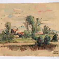 Arte: JACINTO OLIVÉ, PAISAJE MONTORNÉS, ACUARELA, 1938. 34X25,5CM. Lote 100124199