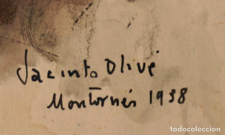 Arte: JACINTO OLIVÉ, PAISAJE MONTORNÉS, ACUARELA, 1938. 34x25,5cm - Foto 2 - 100124199