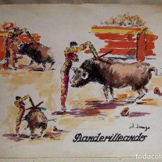 Arte: ACUARELA, JOSE IRANZO, ANZO, BANDERILLEANDO, TOROS, TORERO, MEDIDAS: 33 X 25 CM. Lote 100284323
