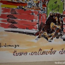 Arte: ACUARELA, JOSE IRANZO, ANZO, TORO SALIENDO DEL TORIL, TOROS, TORERO, MEDIDAS: 33 X 25 CM. Lote 100284455