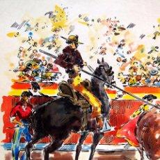 Arte: ACUARELA, JOSE IRANZO, ANZO, EL COBARDON, TOROS, TORERO, MEDIDAS: 33 X 25 CM. Lote 100284575