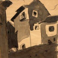 Arte: JOSEP GAUSACHS I ARMENGOL (BARCELONA, 1889 - SANTO DOMINGO, 1959) TECNICA MIXTA PAPEL. PAISAJE RURAL. Lote 100511371