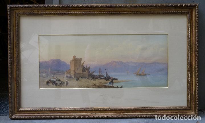 CHARLES VACHER (1818–1883), BAHÍA ITALIANA, S. XIX, ACUARELA. (Arte - Acuarelas - Contemporáneas siglo XX)