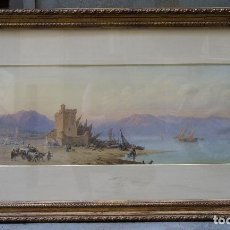 Arte: CHARLES VACHER (1818–1883), BAHÍA ITALIANA, S. XIX, ACUARELA.. Lote 100710991