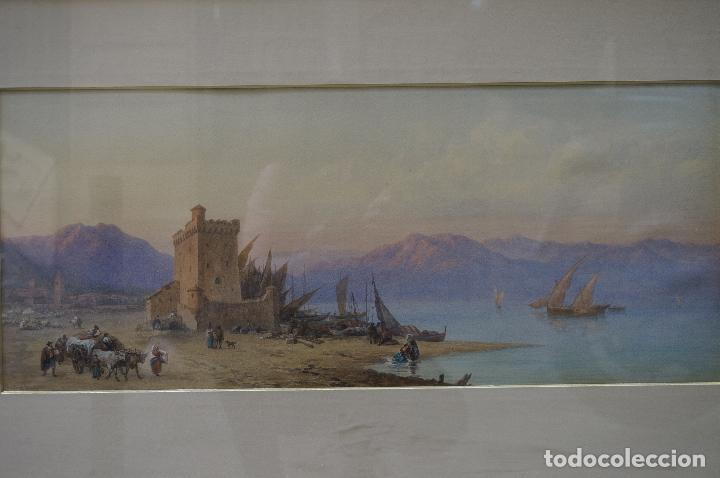 Arte: CHARLES VACHER (1818–1883), BAHÍA ITALIANA, S. XIX, ACUARELA. - Foto 2 - 100710991