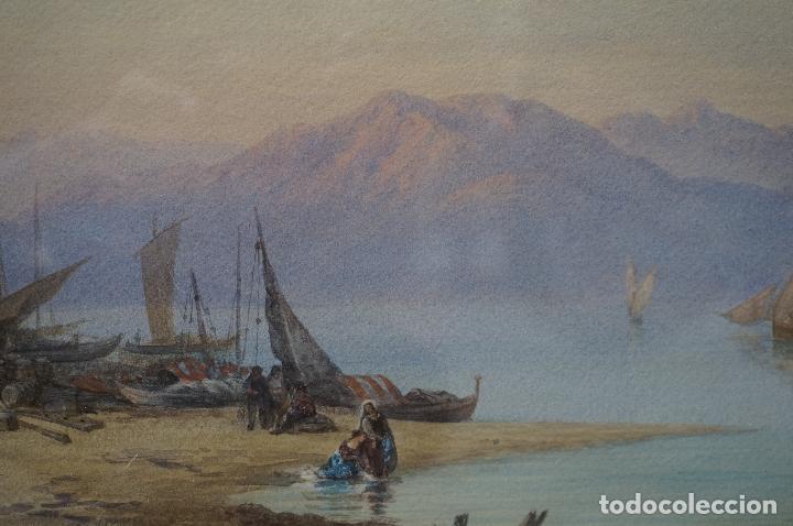 Arte: CHARLES VACHER (1818–1883), BAHÍA ITALIANA, S. XIX, ACUARELA. - Foto 3 - 100710991