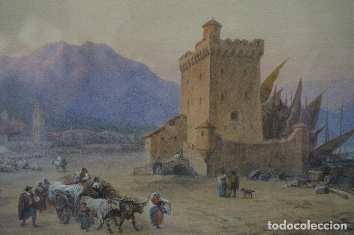 Arte: CHARLES VACHER (1818–1883), BAHÍA ITALIANA, S. XIX, ACUARELA. - Foto 4 - 100710991