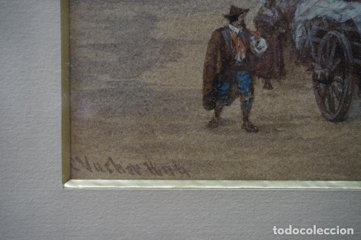 Arte: CHARLES VACHER (1818–1883), BAHÍA ITALIANA, S. XIX, ACUARELA. - Foto 5 - 100710991