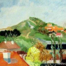 Arte: PUEBLO EN LA MONTAÑA. ACUARELA SOBRE PAPEL. FIRMA ILEGIBLE. ESPAÑA. 1941. Lote 100986487