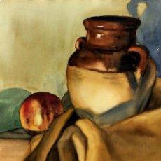 Arte: NATURALEZA MUERTA CON CÁNTARO. ACUARELA SOBRE PAPEL. ANÓNIMO. ESPAÑA. CIRCA 1950. Lote 101302127