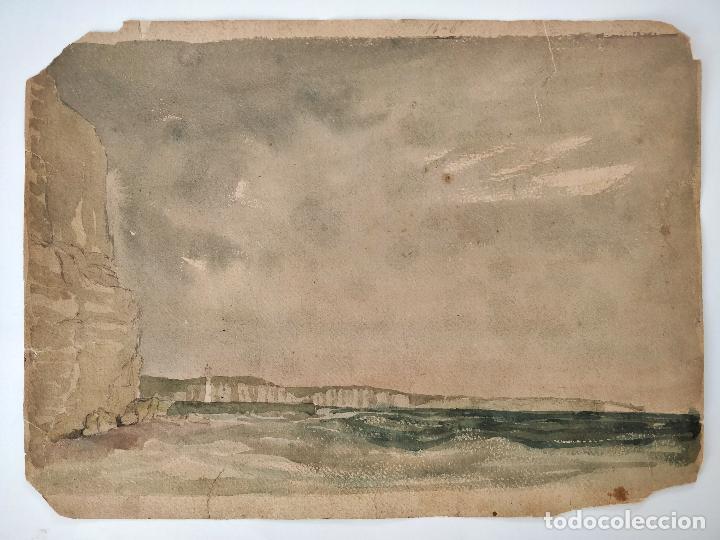 MARAVILLOSA MARINA ORIGINAL EN ACUARELA, FIRMADA Y FECHADA 1839, CALIDAD. (Arte - Acuarelas - Modernas siglo XIX)