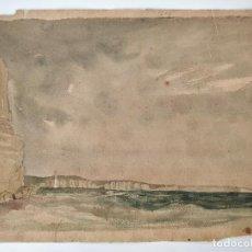Arte: MARAVILLOSA MARINA ORIGINAL EN ACUARELA, FIRMADA Y FECHADA 1839, CALIDAD.. Lote 101349455