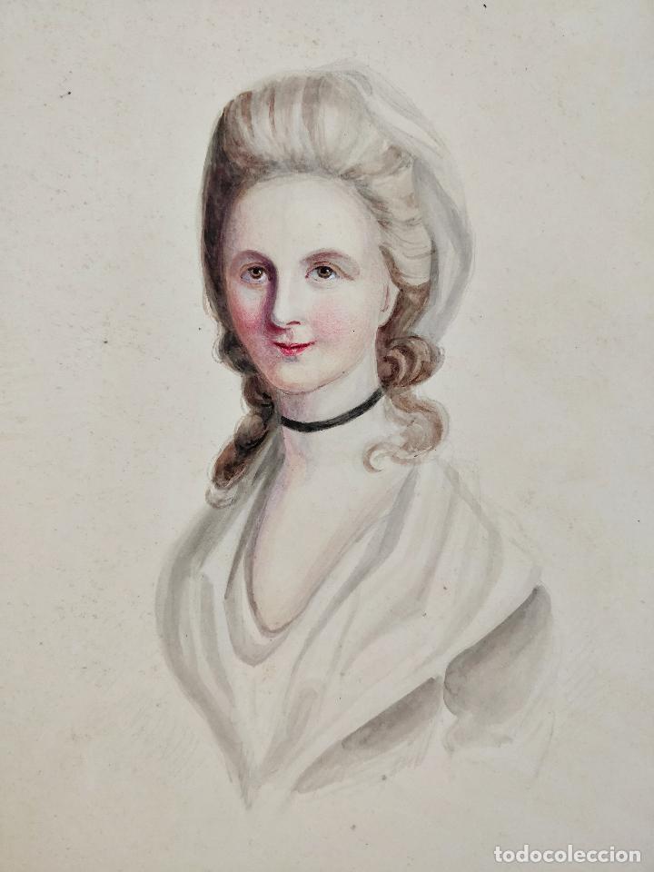 IMPRESIONANTE ACUARELA DEL SIGLO XVIII, CIRCA 1760, ESCUELA FRANCESA, GRAN CALIDAD (Arte - Acuarelas - Antiguas hasta el siglo XVIII)