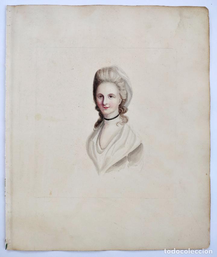Arte: Impresionante acuarela del siglo XVIII, circa 1760, escuela francesa, gran calidad - Foto 2 - 101361431