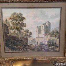 Arte: PAREJA ACUARELAS, ESCUELA NAPOLITANA SIGLO XVIII: PAISAJES CON ESCENAS BUCÓLICAS. Lote 101433611