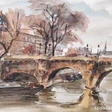 Arte: EXCELENTE ACUARELA ORIGINAL, ESCENA PARISINA, MARAVILLOSA PINCELADA IMPRESIONISTA, FIRMADO G. LEROUX. Lote 101536807