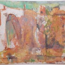 Arte: OBRA ORIGINAL DE ANTONINO SANCHEZ ACRÍLICO SOBRE CARTULINA IMPRESIONISMO PUENTE ALCANTARA. Lote 101630499