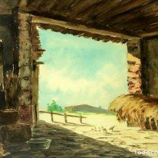 Arte: INTERIOR DE PAJAR. ACUARELA SOBRE PAPEL. ANÓNIMO. ESPAÑA. XIX-XX. Lote 101632615