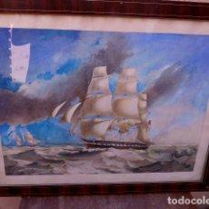 Arte: ANTIGUA ACUARELA, ANÓNIMA.BARCOS.. Lote 101786375