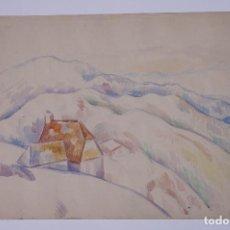 Arte: GUILLEM VILLÀ, 1953, PAISAJE CHILE, ACUARELA. 55X38,5CM. Lote 101838391