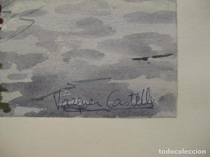 Arte: cuadro pintura antigua Acuarela puerto marina Vázquez Castells Grupo Pont de Fusta Valencia años 60 - Foto 2 - 101939067
