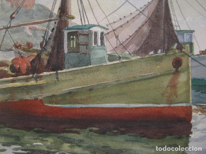 Arte: cuadro pintura antigua Acuarela puerto marina Vázquez Castells Grupo Pont de Fusta Valencia años 60 - Foto 3 - 101939067