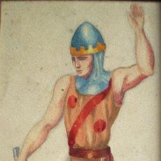 Arte: JOAN FRANCÉS (1900-1969). ACUARELA/PAPEL 26 X 14 CM. FIRMADA. ENMARCADA.. Lote 102017663