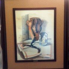 Arte: CUADRO ACUARELA, TAMAÑO GRANDE, DOBLE ENMARCADO, TAPICERIA RUSTICA Y MARCO MADERA- FIRMADO. Lote 102080547
