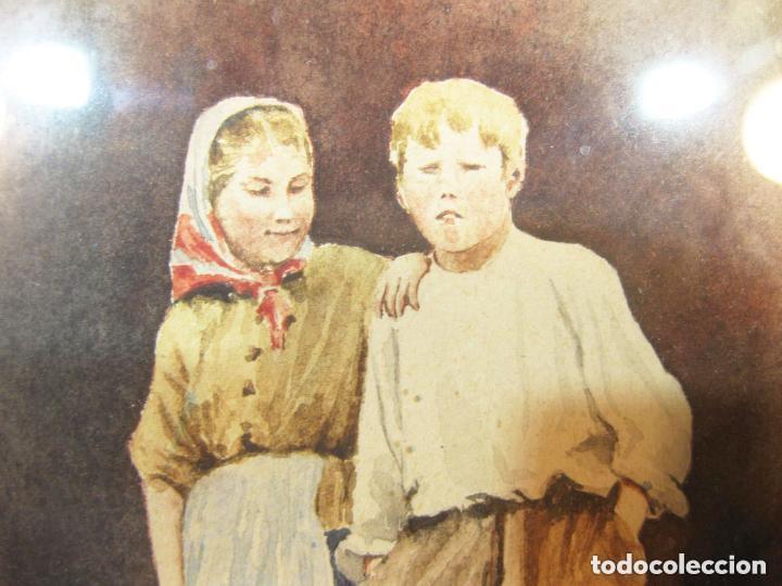 Arte: Acuarela enmarcada de una pareja de niños. Marco dorado. Siglo XIX. - Foto 2 - 102124808