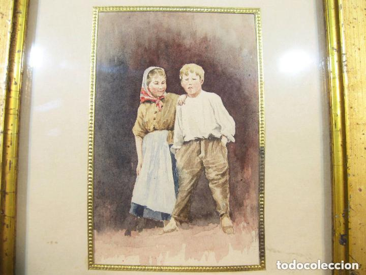 Arte: Acuarela enmarcada de una pareja de niños. Marco dorado. Siglo XIX. - Foto 3 - 102124808