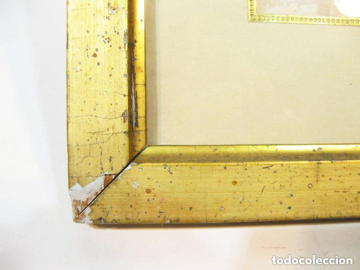 Arte: Acuarela enmarcada de una pareja de niños. Marco dorado. Siglo XIX. - Foto 4 - 102124808