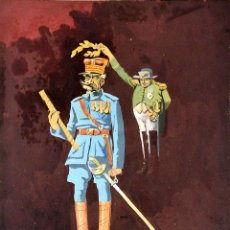 Arte: NAPOLEÓN CORONANDO A UN MILITAR. ACUARELA SOBRE CARTÓN. FIRMADO. ESPAÑA. 1918. Lote 102175519