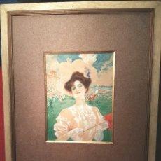 Arte: ESCUELA FRANCESA. DAMA EN LAS CARRERAS ,GOUACHE Y ACUARELA 1900-10.SIN FIRMA.. Lote 102426988