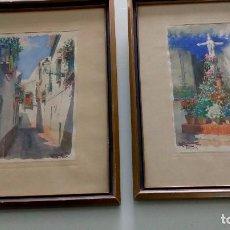 Arte: PAREJA DE ACUARELAS DE DIEGO MARÍN LÓPEZ (GRANADA 1865-1917). Lote 102552523