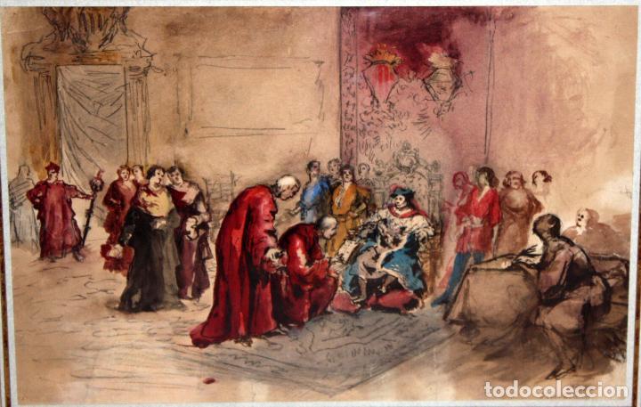 MAURICI VILOMARA I VIRGILI (BARCELONA, 1847 – 1930) ACUARELA SOBRE PAPEL. PERE III EL CERIMONIÓS (Arte - Acuarelas - Modernas siglo XIX)