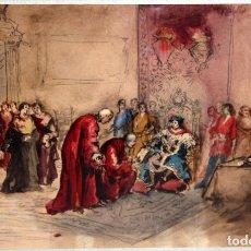 Arte: MAURICI VILOMARA I VIRGILI (BARCELONA, 1847 – 1930) ACUARELA SOBRE PAPEL. PERE III EL CERIMONIÓS. Lote 102582403