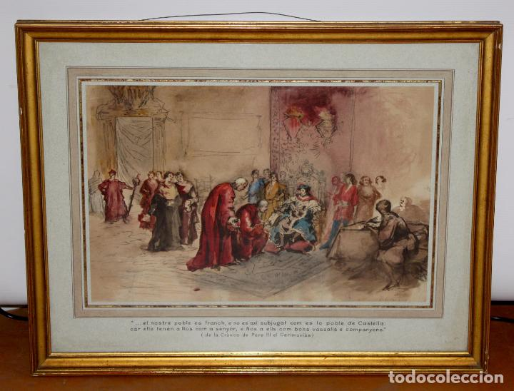 Arte: MAURICI VILOMARA I VIRGILI (Barcelona, 1847 – 1930) ACUARELA SOBRE PAPEL. PERE III EL CERIMONIÓS - Foto 2 - 102582403