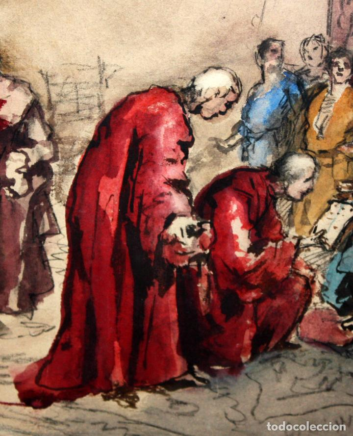 Arte: MAURICI VILOMARA I VIRGILI (Barcelona, 1847 – 1930) ACUARELA SOBRE PAPEL. PERE III EL CERIMONIÓS - Foto 3 - 102582403