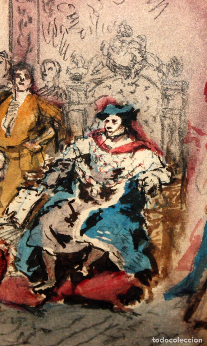 Arte: MAURICI VILOMARA I VIRGILI (Barcelona, 1847 – 1930) ACUARELA SOBRE PAPEL. PERE III EL CERIMONIÓS - Foto 4 - 102582403