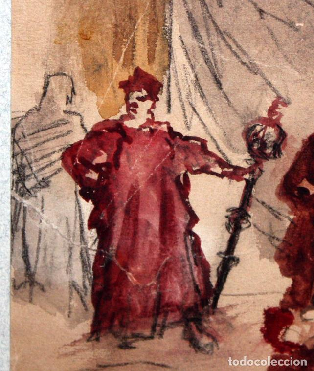 Arte: MAURICI VILOMARA I VIRGILI (Barcelona, 1847 – 1930) ACUARELA SOBRE PAPEL. PERE III EL CERIMONIÓS - Foto 6 - 102582403